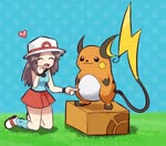 1girl :3 \(^o^)/ ^_^ animated annoyed belly_poke blue_(pokemon) blush charizard closed_eyes commentary_request crossed_arms dragonite electrode explosion gen_1_pokemon grin happy heart kneeling knees_together_feet_apart lickitung lowres mewtwo mp4 on_box pokemoa pokemon pokemon_(creature) pokemon_(game) pokemon_frlg raichu smile snorlax standing standing_on_object unamused
