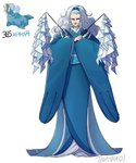 1girl artist_name blue_kimono dual_wielding earrings full_body gen_3_pokemon hair_ornament hands_up highres holding japanese_clothes jewelry kimono long_hair looking_at_viewer moemon necklace old_woman personification pokemon pokemon_(creature) simple_background solo standing tamtamdi walrein wavy_hair white_background white_hair wide_sleeves yellow_eyes