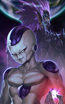 2boys alien back-to-back bald black_skin cabalfan character_name closed_mouth collarbone commentary_request crossover cyclops dragon_ball dragon_ball_z earrings earth energy evil_smile frieza hand_up height_difference highres jewelry long_hair looking_at_viewer looking_back lord_boros male_focus multicolored multicolored_skin multiple_boys muscle one-eyed one-punch_man planet pointy_ears purple_hair purple_skin red_eyes serious slit_pupils smile smirk space spiked_hair spikes trait_connection upper_body white_skin yellow_eyes