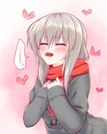 1girl blush casual chocolate closed_eyes commentary_request embarrassed eyebrows_visible_through_hair girls_und_panzer grey_coat hands_on_own_chest heart itsumi_erika long_hair long_sleeves mouth_hold nagomiya_(shousha) pink_background red_scarf scarf silver_hair solo spoken_squiggle squiggle standing upper_body valentine