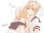 1boy 1girl :| assertive bare_shoulders biting blonde_hair blue_eyes bra_strap brother_and_sister closed_mouth collarbone femdom heart incest kagamine_len kagamine_rin kiss kuronyanko neck_biting neck_kiss short_ponytail siblings sweatdrop translated twincest twins undressing vocaloid