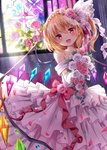 1girl :d bangs bare_shoulders blonde_hair blush bouquet bow braid cowboy_shot crown_braid crystal dress earrings elbow_gloves eyebrows_visible_through_hair fang flandre_scarlet flower gloves hair_between_eyes hair_flower hair_ornament head_tilt holding holding_bouquet indoors jewelry kure~pu light_rays looking_at_viewer necklace off-shoulder_dress off_shoulder one_side_up open_mouth pearl_necklace petals pink_flower pink_rose red_bow red_eyes rose short_hair smile solo stained_glass stud_earrings touhou veil wedding_dress white_flower white_gloves white_rose wings
