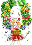 1girl :d apple ascot banana bangs basket blonde_hair blueberry blush bug butterfly commentary cowboy_shot crystal dtvisu eggplant flandre_scarlet food frilled_shirt_collar frilled_skirt frills fruit grapes hat hat_ribbon highres holding holding_basket insect leaf lemon looking_at_viewer mango melon mob_cap open_mouth orange plant_wings puffy_short_sleeves puffy_sleeves red_eyes red_ribbon red_skirt ribbon short_sleeves side_ponytail skirt smile solo strawberry touhou watermelon white_background wings