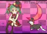 1girl aqua_hair bare_shoulders boots bow bowtie cane cat hair_bow hair_ribbon hat hatsune_miku plaid red_eyes ribbon sitting skirt solo top_hat tosura-ayato twintails vocaloid