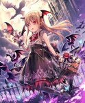 1girl :d artist_request basket bat brown_hair bug butterfly castle cygames dragon earrings eyebrows_visible_through_hair fang flower frilled_skirt frills full_moon head_wings high_heels insect jewelry long_hair looking_at_viewer moon official_art open_mouth pointy_ears red_eyes rose shadowverse shingeki_no_bahamut skirt sleeveless smile solo vampire vampy