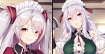 2girls alternate_costume antenna_hair azur_lane bangs bare_shoulders blush breasts brown_eyes closed_mouth commentary_request crossed_bangs detached_sleeves dress eyebrows_visible_through_hair eyes_visible_through_hair graf_zeppelin_(azur_lane) hair_between_eyes head_tilt highres large_breasts long_hair looking_at_viewer maid_headdress multicolored_hair multiple_girls multiple_views official_art parted_lips pokachu prinz_eugen_(azur_lane) red_eyes red_hair short_sleeves silver_hair sleeveless sleeveless_dress smile streaked_hair two_side_up