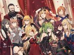 1boy 6+girls ahoge alcohol alternate_costume alternate_hairstyle animal animal_ears arm_around_shoulder armpits aviator_sunglasses bags_under_eyes bangs bare_shoulders beard belt berezovich_kryuger_(girls_frontline) black_dress black_gloves blonde_hair blue_eyes blue_gloves blush breasts brown_eyes brown_hair casual choker cleavage closed_eyes closed_mouth coat collarbone cup dog dress drinking_glass duoyuanjun elbow_gloves embarrassed eyebrows_visible_through_hair eyewear_on_head facial_hair facial_scar fang girls_frontline gloves green_eyes green_hair grey_hair grey_shirt hair_between_eyes hair_flaps hair_ornament hair_ribbon hair_rings hairclip half-closed_eyes hand_on_another's_hand happy helianthus_(girls_frontline) highres holding holding_cup holding_microphone holding_microphone_stand instrument jewelry kalina_(girls_frontline) large_breasts locked_arms logo long_hair long_sleeves looking_at_viewer m1903_springfield_(girls_frontline) m1918_bar_(girls_frontline) m950a_(girls_frontline) medium_breasts messy_hair microphone mosin-nagant_(girls_frontline) multiple_girls necklace no_bra o-ring o-ring_choker one_eye_closed open_clothes open_coat open_mouth parted_lips pendant persica_(girls_frontline) petals purple_hair red_dress red_eyes ribbon sash scar scar_on_cheek scarf shawl shirt side_ponytail sidelocks single_strap skirt sleeves_past_wrists smile strapless strapless_dress sunglasses tambourine thighs triangle_(instrument) twintails very_long_hair vz.61_(girls_frontline) wa2000_(girls_frontline) white_coat wrist_ribbon