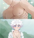 2boys blush chest gon-san gon_freecss hair_between_eyes hunter_x_hunter jewelry killua_zoldyck male_focus multiple_boys muscle necklace open_clothes open_shirt shailo shirt sparkle sweat white_hair yaoi