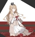 1girl blonde_hair blue_eyes braid breasts corset cowboy_shot crown dress flower french_braid hand_on_own_chest kantai_collection large_breasts long_hair long_sleeves looking_at_viewer mikoto_(oi_plus) mini_crown off-shoulder_dress off_shoulder red_flower red_ribbon red_rose ribbon rose solo thighhighs warspite_(kantai_collection) white_dress white_legwear