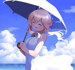 1girl :d ^_^ bangs blonde_hair blue_bow blue_sky blush bow brooch clarice_(idolmaster) closed_eyes cloud day dress evolvingmonkey hair_between_eyes hair_bow hair_bun hair_up hands_together hands_up highres holding holding_umbrella idolmaster idolmaster_cinderella_girls jewelry long_hair ocean open_mouth outdoors parasol red_brooch sidelocks sky sleeveless sleeveless_dress smile solo umbrella white_dress white_umbrella wind wind_lift