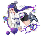 1girl bangs bike_shorts black_shorts blue_footwear blue_hat blunt_bangs bobblehat boots camouflage_footwear domino_mask english fang floating goggles goggles_on_headwear hat holding holding_weapon inkling inkling_(language) long_hair long_sleeves looking_at_viewer luna_blaster_(splatoon) makeup mascara mask mimimi_(echonolog) open_mouth paint_splatter pointy_ears purple_hair red_eyes saliva shirt shorts simple_background single_vertical_stripe ski_goggles solo splat_bomb_(splatoon) splatoon splatoon_1 squid stitches striped striped_shirt t-shirt tentacle_hair thigh_gap torn_clothes torn_shirt weapon white_background white_shirt zombie