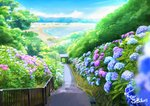 artist_name beach blue_sky blurry bush commentary_request day depth_of_field flower highres house hydrangea landscape mountain no_humans ocean original outdoors railing sachiko15 scenery signature sky stairs tree