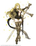 1girl absurdres armored_boots blonde_hair boots breasts center_opening choker cross crossed_legs drag-on_dragoon drag-on_dragoon_3 facial_mark five_(drag-on_dragoon) forehead_mark full_body gauntlets gold_trim hair_ornament hairclip highres impossible_clothes ji_no large_breasts long_hair looking_at_viewer mole mole_under_eye official_art petals shoulder_armor sinoalice smile solo square_enix sword watson_cross weapon white_background yellow_eyes