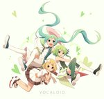 3girls aren_(fubuki-46) blonde_hair brown_eyes copyright_name dress elbow_gloves floating_hair gloves green_eyes green_hair gumi hair_ornament hairclip hat hatsune_miku highres kagamine_rin long_hair multiple_girls necktie open_mouth short_hair striped striped_legwear stuffed_animal stuffed_toy thighhighs twintails vertical-striped_legwear vertical_stripes very_long_hair vocaloid