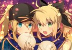 2girls :d ahoge artoria_pendragon_(all) baseball_cap black_bow black_eyes black_headwear blonde_hair blue_jacket blue_scarf bow eyebrows_visible_through_hair fate/grand_order fate/unlimited_codes fate_(series) food green_eyes hair_between_eyes hair_bow hat high_ponytail holding holding_food jacket long_hair looking_at_viewer meiji_ken multiple_girls mysterious_heroine_x open_mouth portrait saber_lily scarf shared_scarf sleeveless smile twitter_username