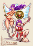2girls angel_wings asamiya_athena athena_(series) bead_necklace beads bikini bracelet breasts crossover dual_persona earrings flats full_body hairband hayakawa_sonchou highres jewelry long_hair medium_breasts multiple_girls navel necklace pants princess_athena puffy_short_sleeves puffy_sleeves purple_eyes purple_hair red_bikini shield short_sleeves snk swimsuit sword the_king_of_fighters the_king_of_fighters_'95 underboob weapon wings