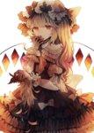 1girl bangs blonde_hair bow dress feathers finger_in_mouth flandre_scarlet hand_up hat hat_bow highres layered_dress long_hair looking_at_viewer mob_cap red_bow red_eyes side_ponytail simple_background solo touhou white_background white_bow white_headwear wings wiriam07 wrist_cuffs