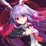 1girl animal_ears arm_up between_fingers black_background blazer breasts bullet bunny_ears chromatic_aberration commentary_request eyes_visible_through_hair frown hair_between_eyes head_tilt highres jacket kozakura_(dictionary) lavender_hair leaning_back light_particles long_hair long_sleeves looking_at_viewer magic_circle medium_breasts necktie open_blazer open_clothes open_jacket red_eyes red_neckwear reisen_udongein_inaba shirt solo touhou tsurime upper_body very_long_hair white_shirt wing_collar