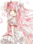 1girl blush hair_ribbon heterochromia kaname_madoka long_hair looking_at_viewer looking_back mahou_shoujo_madoka_magica open_mouth petals pink_eyes pink_hair pink_ribbon ribbon sakumagica solo white_ribbon yellow_eyes