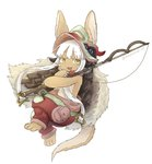 1other ambiguous_gender animal_ears artist_name blush eyebrows_visible_through_hair fishing_rod full_body highres holding holding_fishing_rod kawasemi27 long_hair looking_at_another made_in_abyss nanachi_(made_in_abyss) parted_lips plank smile twitter_username white_hair yellow_eyes