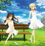2girls ahoge artoria_pendragon_(all) barefoot bench black_ribbon blonde_hair blue_eyes blue_ribbon blue_sky breasts brown_hair cleavage cloud collarbone day dress eyebrows_visible_through_hair fate/stay_night fate_(series) full_body green_eyes hair_between_eyes hair_ribbon highres long_hair looking_at_viewer multiple_girls outdoors ribbon saber sandals sandals_removed see-through_silhouette shoes short_hair sidelocks single_shoe sitting sky sleeveless sleeveless_dress small_breasts smile standing sundress toosaka_rin twintails very_long_hair white_dress
