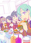 4girls :d ;d ^_^ aqua_eyes ascot black_eyes black_hair brown_hair closed_eyes eating food french_fries green_hair hair_ornament hairclip hamburger head_rest highres kantai_collection kumano_(kantai_collection) long_hair long_sleeves looking_at_viewer mikuma_(kantai_collection) mogami_(kantai_collection) multiple_girls neckerchief one_eye_closed open_mouth ponytail sailor_collar school_uniform serafuku short_hair smile suzuya_(kantai_collection) takitarou twintails