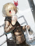 1girl alternate_costume bag blonde_hair hair_ribbon highres jacket long_sleeves looking_at_viewer manjuu red_eyes ribbon rumia scarf shopping_bag shoulder_bag smile snowing solo spark621 touhou winter_clothes