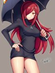 1girl blush breasts cross cross_necklace hair_over_one_eye hand_on_hip iroyopon jewelry large_breasts long_hair long_sleeves looking_at_viewer necklace parasoul_(skullgirls) red_hair skullgirls solo turtleneck_dress umbrella yellow_eyes
