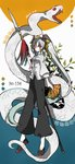 1girl absurdly_long_hair black_footwear black_pants blue_background chinese_clothes color_guide cosplay fan fate/extra fate/grand_order fate_(series) folding_fan full_body high_ponytail highres holding holding_fan holding_spear holding_weapon hskr_519 kiyohime_(fate/grand_order) kiyohime_(swimsuit_lancer)_(fate) li_shuwen_(fate) li_shuwen_(fate/grand_order) li_shuwen_(fate/grand_order)_(cosplay) long_hair long_legs number pants paper_fan polearm ponytail red_eyes shirt shoes snake solo spear tangzhuang tassel twitter_username very_long_hair weapon white_background white_hair white_shirt white_snake