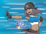 1girl a.k.o.t. armband bandana bare_shoulders black_gloves character_request covered_nipples crop_top dark_skin gloves halter_top halterneck long_hair midriff navel open_mouth outstretched_hand poke_ball pokemon pokemon_(game) pokemon_oras purple_eyes purple_hair sash team_aqua team_aqua_grunt team_aqua_grunt_(remake)