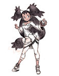 1girl black_hair bow brown_eyes capri_pants contrapposto dark_skin full_body genzoman holding holding_poke_ball iris_(pokemon) long_hair looking_to_the_side pants poke_ball pokemon pokemon_(game) pokemon_bw simple_background sketch smile solo standing two_side_up white_background white_bow