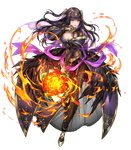 1girl bangs black_dress black_hair bouquet breasts bridal_gauntlets bridal_veil cleavage dress feather_trim fingernails fire fire_emblem fire_emblem:_kakusei fire_emblem_heroes flower full_body grey_eyes hair_ornament hand_up high_heels highres holding jewelry large_breasts lips long_hair looking_away official_art open_mouth see-through senchat shiny shiny_clothes skin_tight solo tharja tiara transparent_background veil