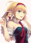 1girl alice_margatroid bangs blonde_hair blue_dress blue_eyes breasts capelet culter detached_collar dress earphones eyebrows_visible_through_hair fingernails floating_hair hairband hands_up highres holding looking_afar necktie red_hairband red_neckwear shanghai_doll simple_background smile solo touhou upper_body