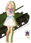 1girl absurdres barefoot barefoot_sandals blonde_hair blue_ribbon blush bouquet bridal_veil character_name closed_eyes collarbone dress flower full_body girls_und_panzer ground_vehicle hair_intakes hair_ribbon highres holding holding_bouquet kay_(girls_und_panzer) long_hair looking_at_viewer m4_sherman military military_vehicle motor_vehicle pleated_dress ribbon see-through shiny shiny_hair short_dress sleeveless sleeveless_dress smile solo tank veil white_background white_dress