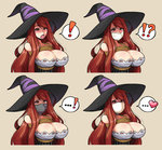 ! !? ...! 1girl arms_behind_back bare_shoulders bdsm blush bondage breasts cleavage cloth_gag dragon's_crown gagged heart highres huge_breasts improvised_gag jam-orbital long_hair open_mouth over_the_nose_gag red_hair rope shibari solo sorceress_(dragon's_crown) spoken_exclamation_mark spoken_heart tape tape_gag yellow_eyes