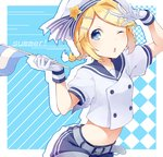 1girl arm_up belt blonde_hair blue_eyes blue_shorts braid gloves hair_ornament hat holding_flag kagamine_rin midriff navel one_eye_closed open_mouth positive_bbt shirt short_hair short_sleeves shorts solo standing stomach vocaloid white_gloves white_hat white_shirt