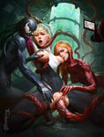 2014 3girls areolae arms_up artist_name bangs biting blonde_hair blunt_bangs bodysuit bound bound_legs breast_grab breast_sucking carnage_(marvel) freckles grabbing gwen_stacy long_hair looking_at_viewer marvel multiple_girls nipple_biting nipples open_mouth orange_hair pubic_hair pussy pussy_juice recording signature spider-gwen tarakanovich tentacles torn_bodysuit torn_clothes vaginal venom_(marvel)