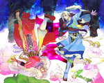 2boys 3girls angel angel_wings arm_guards blonde_hair blue_(saga_frontier) blue_boots blue_clothes blue_eyes boots bracer closed_eyes dagger dress expressionless flower frills full_body fur ground_cherry jewelry knee_boots long_hair male_focus multiple_boys multiple_girls necklace oitsukenai outstretched_arm parted_lips pink_dress pink_flower ponytail red_shoes ring robe rouge_(saga_frontier) saga saga_frontier scarf sheath sheathed shoes siblings tabard twins upside-down weapon white_hair white_wing wide_sleeves wings