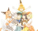 6+girls :d ;d ^_^ animal_ear_fluff animal_ears armadillo_ears arms_up bare_shoulders black_hair blonde_hair bow bowtie caracal_(kemono_friends) caracal_ears closed_eyes commentary_request dog_(mixed_breed)_(kemono_friends) dog_ears dog_tail elbow_gloves elbow_pads extra_ears fang giant_armadillo_(kemono_friends) giant_pangolin_(kemono_friends) girl_sandwich gloves green_hair grey_hair group_hug happy hat hat_feather hug kemono_friends kyururu_(kemono_friends) moeki_(moeki0329) multicolored_hair multiple_girls one_eye_closed open_mouth orange_hair outstretched_arms pangolin_ears sandwiched serval_(kemono_friends) serval_ears shoulder_pads simple_background smile spread_arms tail two-tone_hair white_background white_hair |d