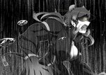 1girl animal_ears aura breasts cleavage commentary dark_aura droplet emphasis_lines fangs from_side glowing glowing_eyes greyscale halftone hippopotamus_(kemono_friends) huge_breasts jacket kaya_(nari1-24) kemono_friends long_hair long_sleeves monochrome motion_blur muscle muscular_female open_clothes open_jacket open_mouth saliva solo spot_color standing tail upper_body yellow_eyes