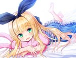 1girl :3 :d bangs baram barefoot bed_sheet black_ribbon blonde_hair blue_dress blurry blurry_background blush commentary_request depth_of_field dress eyebrows_visible_through_hair frilled_dress frills green_eyes hair_ribbon legs_up long_hair lying mononobe_alice nijisanji object_hug on_stomach open_mouth ribbon smile soles solo stuffed_animal stuffed_bunny stuffed_toy very_long_hair virtual_youtuber white_background