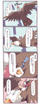 1girl 4koma animal bandages bird bun_cover closed_eyes comic double_bun dragon eagle flying fuukadia_(narcolepsy) hair_bun happy ibaraki_kasen open_mouth oversized_animal pink_eyes pink_hair riding shirt skirt smile tabard touhou translated