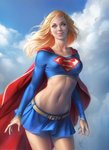 1girl belt blonde_hair blue_eyes blue_sky cape cloud crop_top day dc_comics midriff miniskirt navel skirt sky smile solo supergirl superhero superman_(series) warren_louw