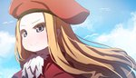 1girl absurdres bangs beret bird blonde_hair blue_eyes blue_sky blush capelet closed_mouth cloud colored_eyelashes commentary_request day floating_hair forehead hat highres long_hair looking_away original outdoors parted_bangs portrait red_capelet red_hat sky smile solo very_long_hair wada_kazu