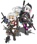 2girls assault_rifle backpack bag boots bullpup cellphone commentary_request desert_tech_mdr drone exoskeleton fatkewell flip_phone girls_frontline gloves grin gun highres kriss_vector mdr_(girls_frontline) multiple_girls phone rifle smile submachine_gun tactical_clothes tom_clancy's_the_division_2 vector_(girls_frontline) weapon