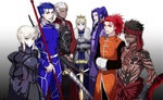 2girls 5boys archer armor armored_dress assassin_(fate/extra) assassin_(fate/stay_night) avenger black_hair blonde_hair blue_hair caladbolg chinese_clothes crown dark_skin dress dual_persona fate/extra fate/hollow_ataraxia fate/stay_night fate_(series) full_body_tattoo gae_bolg japanese_clothes lancer multiple_boys multiple_girls ooka polearm ponytail red_eyes red_hair saber saber_alter spear sword tattoo weapon white_hair yellow_eyes