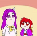 2girls :3 asakura_rikako bkub_(style) bow commentary_request hair_bow hairband japanese_clothes kimono kotohime labcoat layered_clothing multiple_girls obi parody pipimi poptepipic popuko purple_eyes purple_hair red_eyes red_hair sash shadou_buhui style_parody touhou