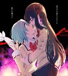2girls after_kiss akemi_homura bags_under_eyes black_hair black_legwear black_skirt blank_eyes blue_eyes blue_hair bow bowtie commentary crying earrings eyebrows_visible_through_hair gloves hair_ribbon hand_on_another's_cheek hand_on_another's_face holding_hands jewelry long_hair long_sleeves looking_at_another looking_down looking_up mahou_shoujo_madoka_magica mahou_shoujo_madoka_magica_movie miki_sayaka mitakihara_school_uniform multiple_girls open_mouth pantyhose pleated_skirt purple_eyes ribbon saliva saliva_trail school_uniform short_hair skirt smile standing tears translated yandere yuri yutyantogarashi