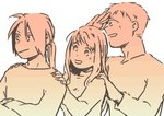 1girl 2boys :d alphonse_elric close-up crossed_arms edward_elric fingernails food fruit fullmetal_alchemist gradient hand_to_forehead hands_on_another's_shoulders happy head_tilt height_difference igi_(tarqu0ise) long_sleeves looking_away monochrome multiple_boys open_mouth orange pink_theme profile simple_background smile standing upper_body white_background winry_rockbell