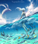 1girl blue_sky cloud day fish from_behind highres long_hair motion_blur one-piece_swimsuit original partially_submerged sky solo star_(sky) starry_sky swimsuit water watermark web_address wenqing_yan whale white_hair wind